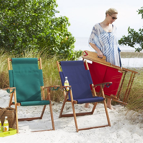 Folding Wood and Fabric Lawn & Beach Chair